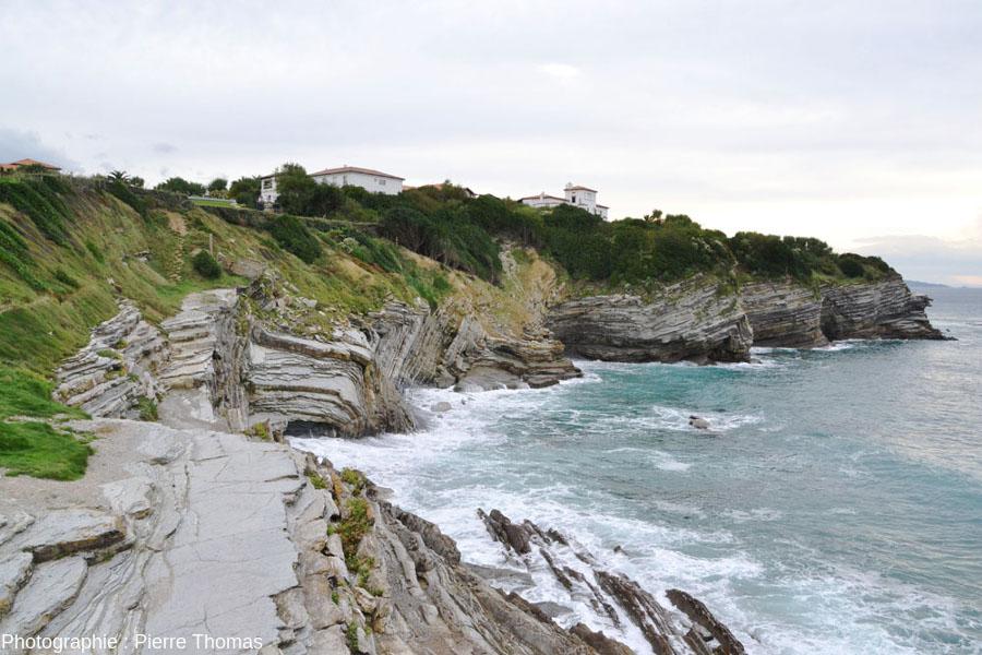 Vue d'ensemble d'un segment de la côte de Saint Jean-de-Luz où de nombreuses charnières de plis sont visibles dans les flyschs du Crétacé supérieur