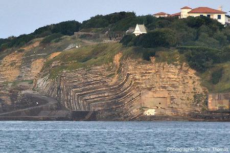 Le demi-anticlinal coffré de la Pointe de Sainte Barbe, photographié depuis Ciboure, de l'autre côte du golfe de Ciboure / Saint Jean-de-Luz (Pyrénées Atlantiques)