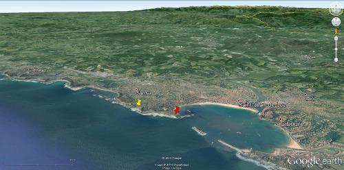 Localisation des plis du secteur de la Pile d'Assiettes (punaise jaune) et de la pointe de Sainte Barbe (punaise rouge), secteur de Saint Jean-de-Luz / Ciboure (Pyrénées Atlantiques)
