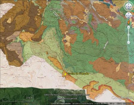 Extrait de la carte géologique de Saint Jean Pied de Port (vue verticale) montrant la géologie du secteur de la grotte d'Harpéa (Pyrénées Atlantiques)