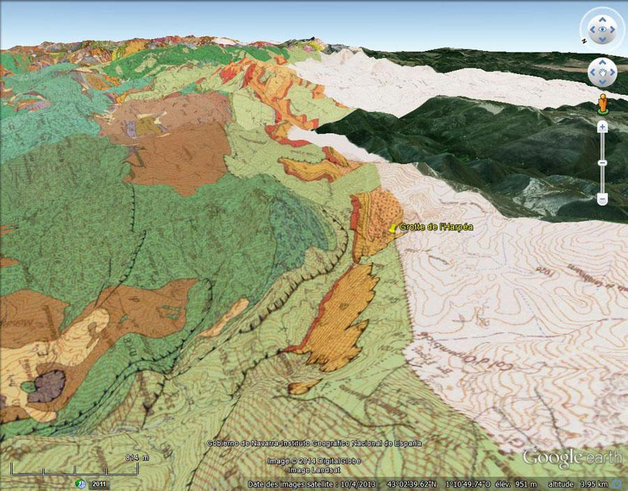 Carte géologique, vue de manière oblique, du secteur de la grotte d'Harpéa, Estérençuby (Pyrénées Atlantiques)