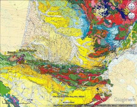 Localisation de la grotte d'Harpéa, des plis de Saint Jean de Luz et des couches verticales de Zumaia sur la carte géologique de France au 1/1000000