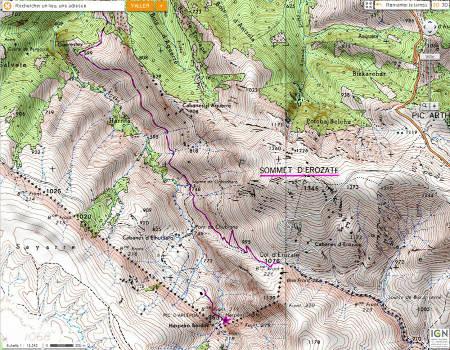 Localisation de la grotte d'Harpéa (étoile violette) sur cartes IGN détaillée
