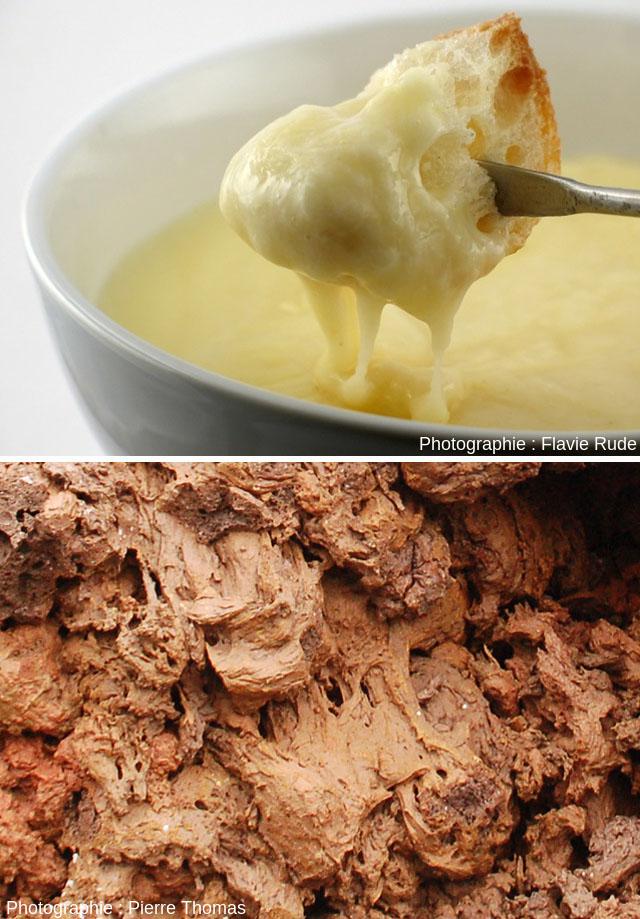 Analogie des figures formées par l'écoulement de deux liquides visqueux: le fromage d'une fondue savoyarde, et des scories d'un spatter cone adventif du volcan Pico (Açores)
