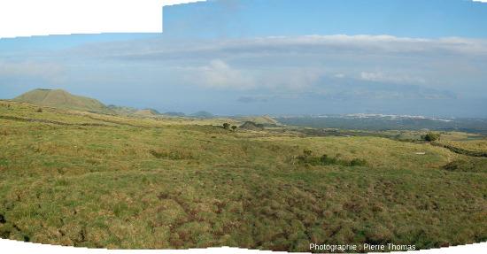 Panorama sur des cônes adventifs du flanc Ouest du Pico (Açores)