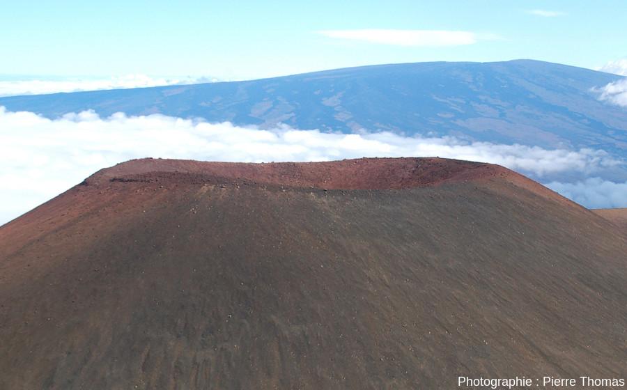 Gros plan sur le cratère (Ø = 210m) du Puu Hau Kea (Hawaï)