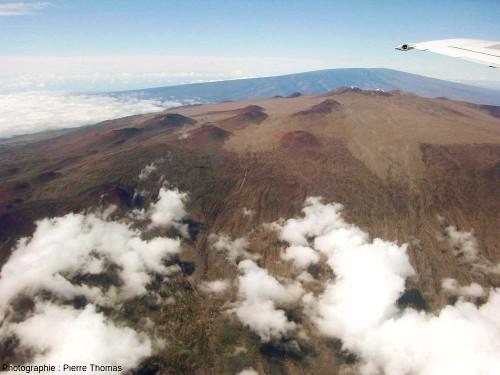 Vue aérienne du Mauna Kea, montrant les nombreux petits cônes de scories parsemant son sommet en pente douce, pente caractéristique des volcans boucliers, dits encore hawaïens