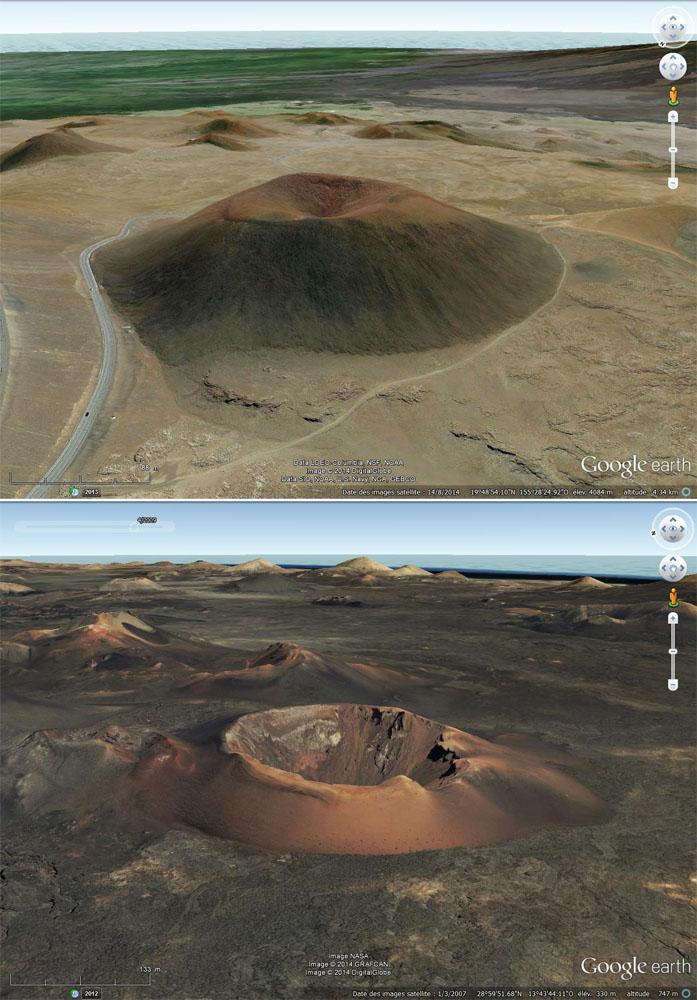 Comparaison, en vue oblique, entre la morphologie d'un cône de scories standard (le Puu Hau Kea sur le Mauna Kea, Hawaï) et la morphologie d'un cône mis en place avec une forte explosivité s'apparentant à un tuff ring (la caldeira de Corazoncillo)