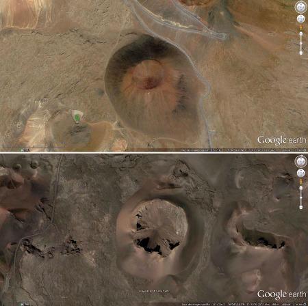 Comparaison, en vue verticale, entre la morphologie d'un cône de scories standard (le Puu Hau Kea sur le Mauna Kea, Hawaï) et la morphologie d'un cône mis en place avec une forte explosivité s'apparentant à un tuff ring (la caldeira de Corazoncillo)