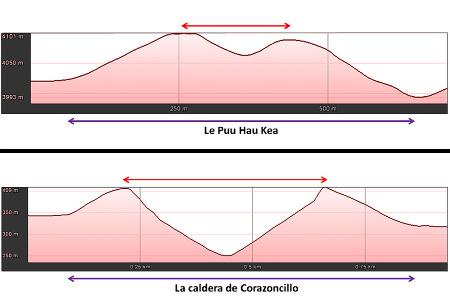 Coupe comparée du Puu Hau Kea et de la caldeira de Corazoncillo