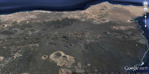 Image de la région recouverte par les laves et le cendres de l'éruption majeure de 1730-1736, île de Lanzarote, Canaries