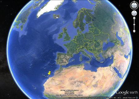Localisation de l'île de Lanzarote (punaise jaune)