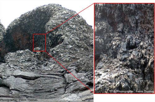"""Vue globale d'un spatter cone et détail de la paroi interne de son """"cratère"""", Kilauea, Hawaï"""