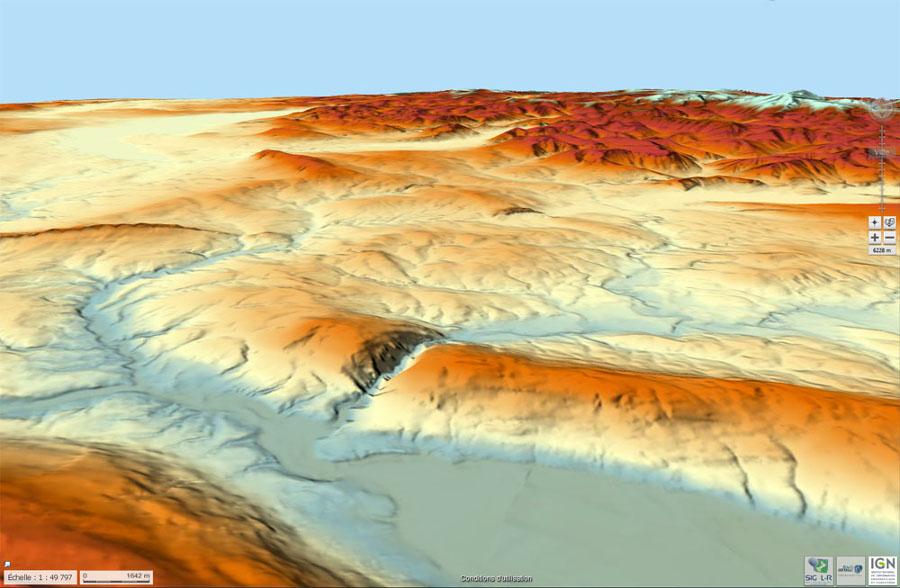 Carte du relief, en vue oblique, de la partie Nord du Gros Foug