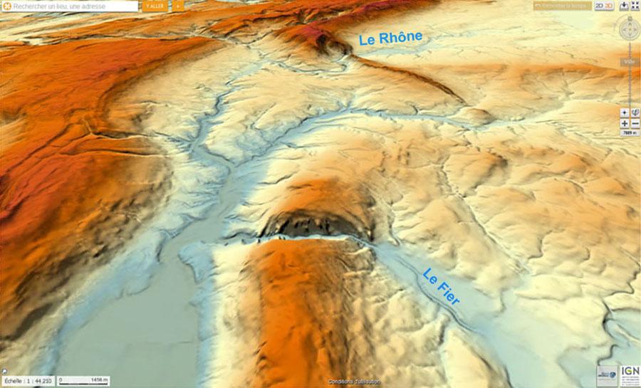 Carte du relief, en vue oblique et en direction du Nord, de la partie Nord du Gros Foug