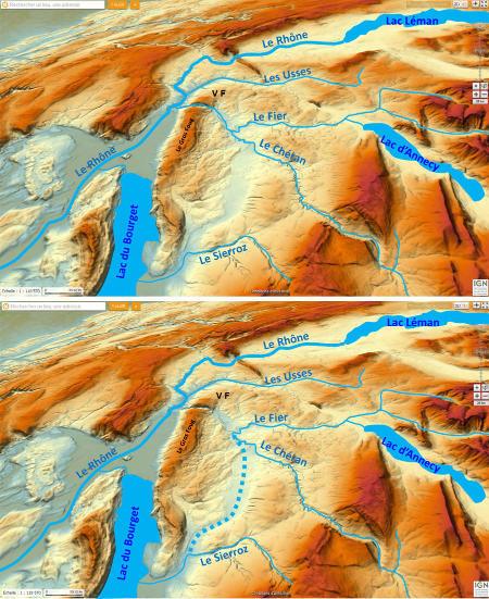 """Carte en relief et réseaux hydrographiques réel et """"logique"""""""