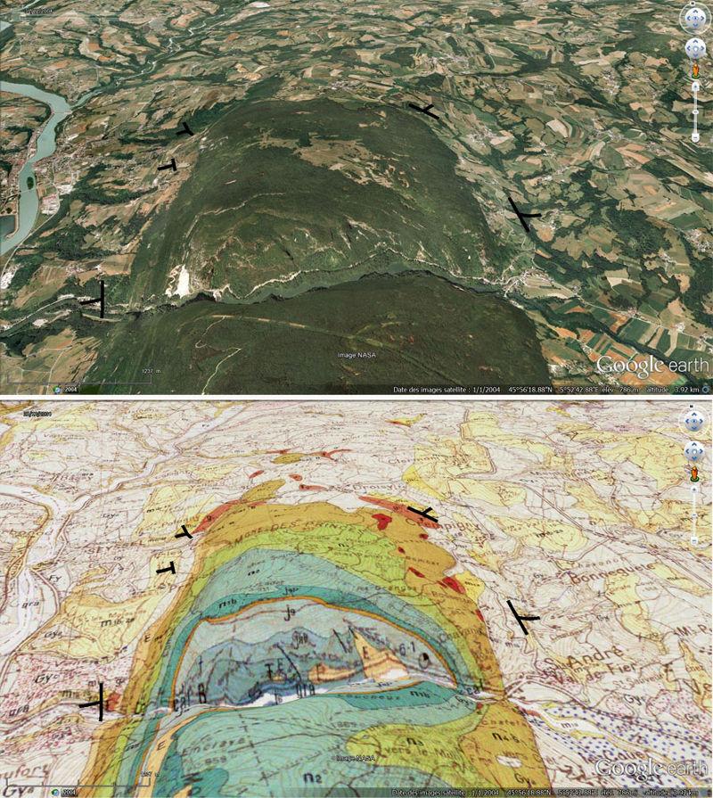 Vue oblique et carte géologique correspondante du Val de Fier recoupant l'anticlinal du Gros Foug