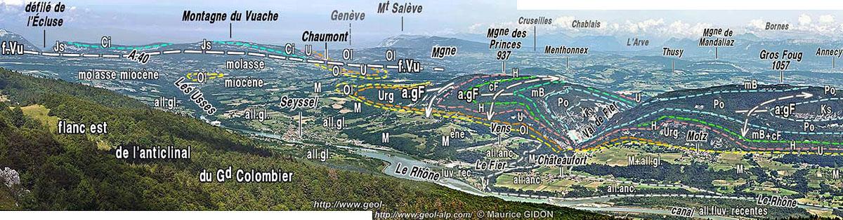 Paysage interprété, vu du Grand Colombier, du Gros Foug et de la cluse du Val de Fier