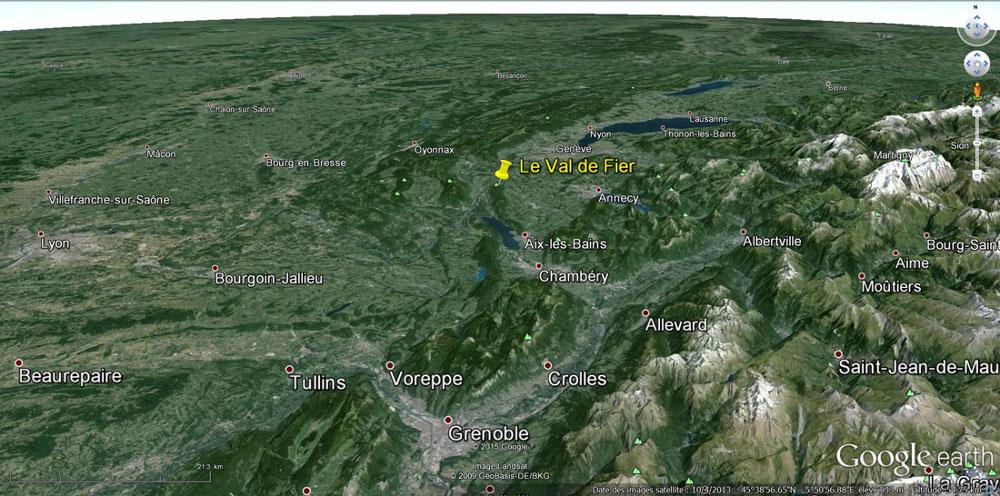 Localisation du Val de Fier et de l'anticlinal du Gros Foug