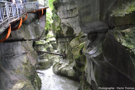 Partie des gorges où l'on voit la stratification des calcaires urgonien, stratification sub-horizontale, avec un léger pendage vers l'Ouest (vers l'aval)