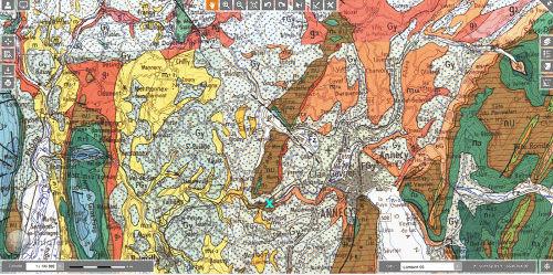 La position des Gorges du Fier (croix bleue) entre Annecy (centre droit) et le Gros Foug - Val de Fier (à gauche)