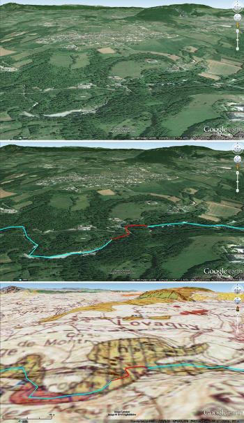 """Juxtaposition des images brute, """"habillée"""" et de la carte géologique du secteur des Gorges du Fier, vues depuis une faible altitude"""