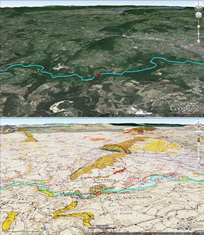 Juxtaposition de l'image habillée et de la carte géologique du secteur des Gorges du Fier, vues depuis une altitude moyenne