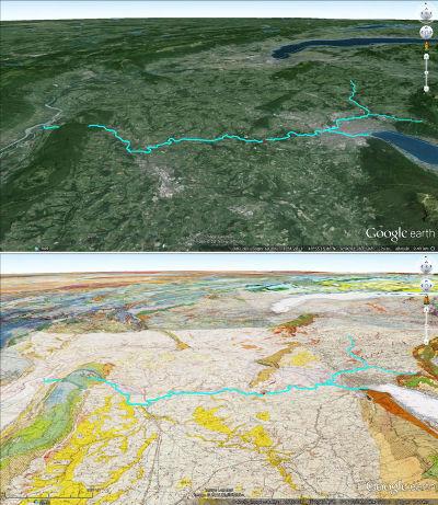 Juxtaposition de l'image habillée et de la carte géologique du secteur des Gorges du Fier, vues depuis une haute altitude