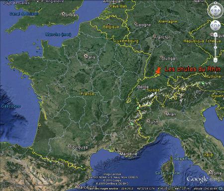 Localisation des chutes du Rhin, à seulement 80km de la frontière française, entre Bâle et le lac de Constance