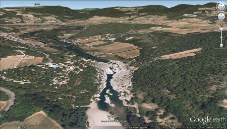Vue du secteur de la cascade du Sautadet (La Roque-sur-Cèze, Gard)