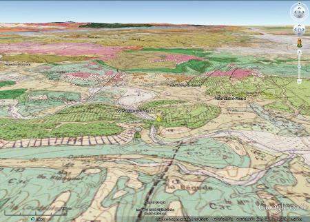 Carte géologique du secteur de la cascade du Sautadet (punaise jaune)