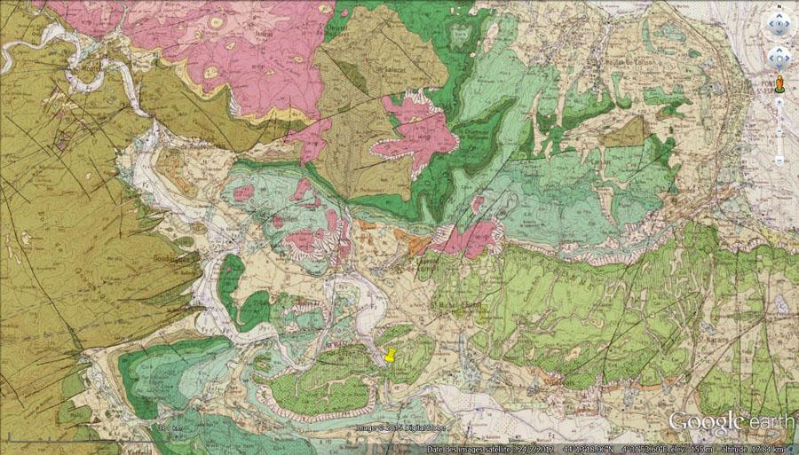 Carte géologique de la région de la cascade du Sautadet (punaise jaune)