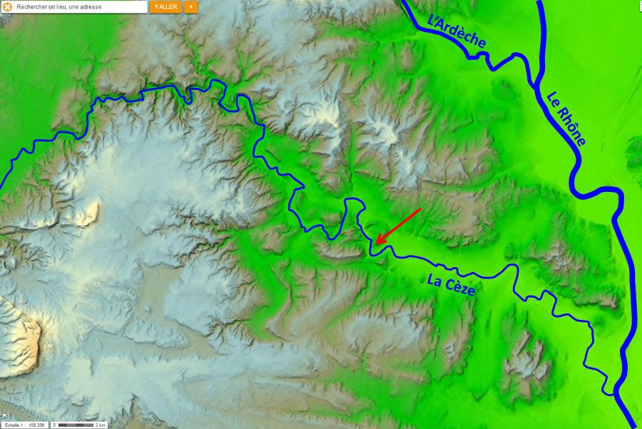 Cadre morphologique de la région de la Cèze et de la cascade du Sautadet (flèche rouge)