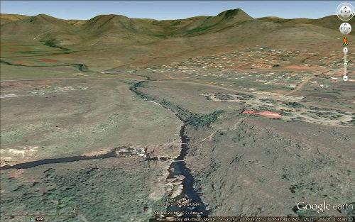Le secteur des marmites de géant de Bourke le chanceux (Bourke's Luck Potholes) au confluent de la Treur (qui vient de gauche) et de la Blyde (qui vient du fond de l'image), Afrique du Sud