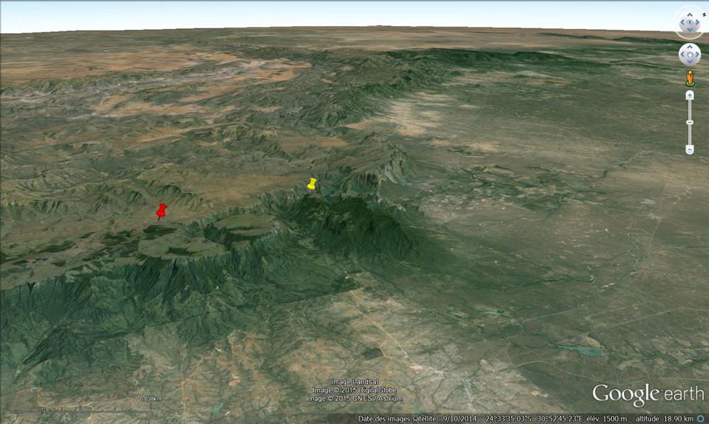 Situation topographique des marmites de géant de Bourke le chanceux (punaise rouge) et des stratifications obliques du canyon de la Blyde River (punaise jaune)