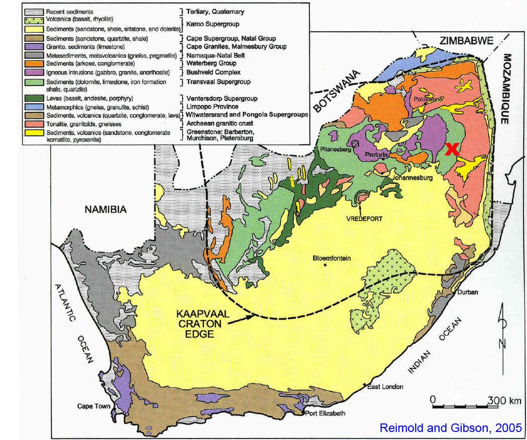 Carte géologique simplifiée de l'Afrique du Sud