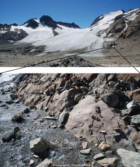 Vue globale et zoom sur la bordure du glacier de Saint Sorlin (Massif des Grandes Rousses, Savoie) montrant des stries très récentes (moins de quelques années, voire quelques mois) mises à jour par le rapide retrait du glacier