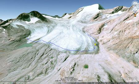 Vue aérienne du glacier de Saint Sorlin