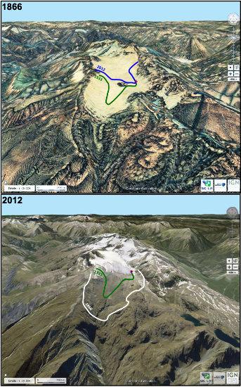 Suivi de l'étendue du glacier de Saint Sorlin de 1866 à 2012