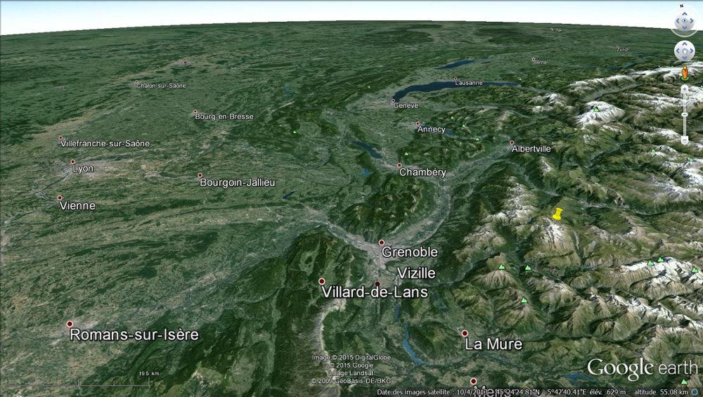Localisation du glacier de Saint Sorlin et du massif des Grandes Rousses (punaise jaune) dans le Nord Ouest des Alpes françaises