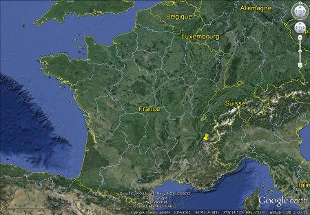 Localisation du glacier de Saint Sorlin et du massif des Grandes Rousses (punaise jaune) en France
