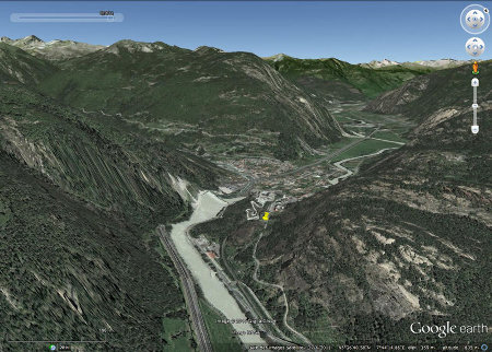 Localisation du géosite archéologique de Bard (punaise jaune), Val d'Aoste, Italie