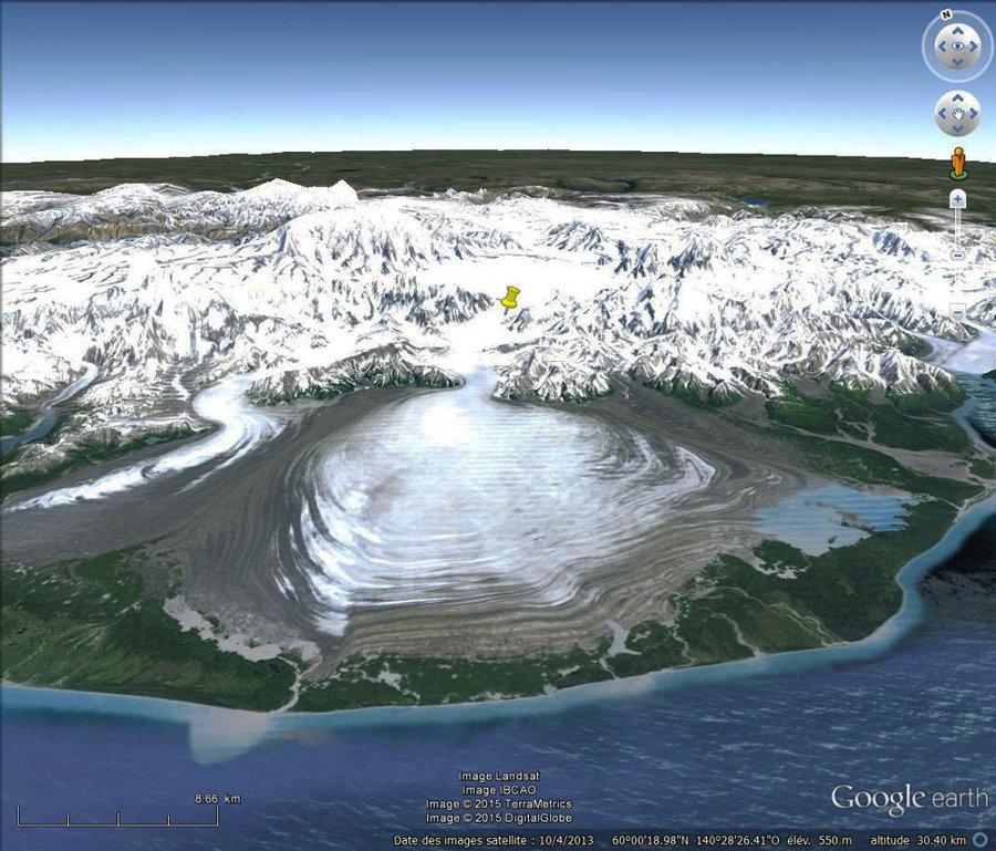 Un glacier en Alaska, une analogie actuelle du glacier de la Dora Baltea à la fin du Würm