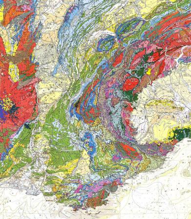 Localisation du géosite archéologique de Bard, dans la zone Sesia, Val d'Aoste (punaise jaune) sur la carte géologique de France au 1/1000000