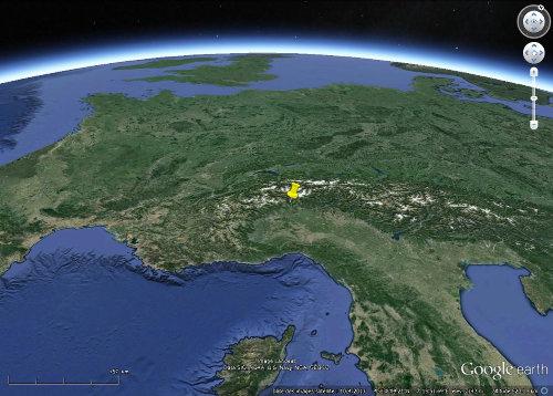 Localisation du géosite archéologique de Bard dans l'arc alpin