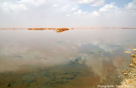 Autre vue du fond du lac situé à l'Ouest de l'oasis de Siwa (Égypte), en mars 2006