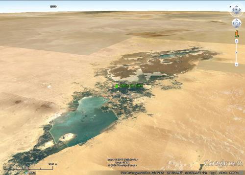 Vue aérienne des deux lacs de l'oasis de Siwa (Égypte)
