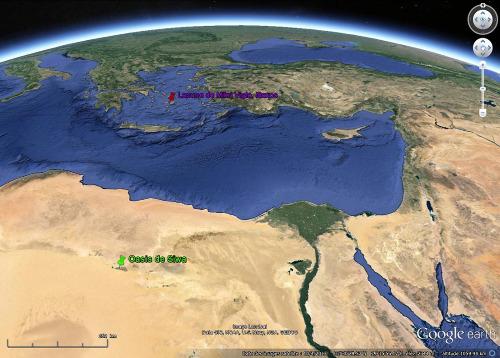 Localisation de l'oasis de Siwa (punaise verte), au milieu du Sahara égyptien, et de l'île de Naxos (punaise rouge) en mer Égée
