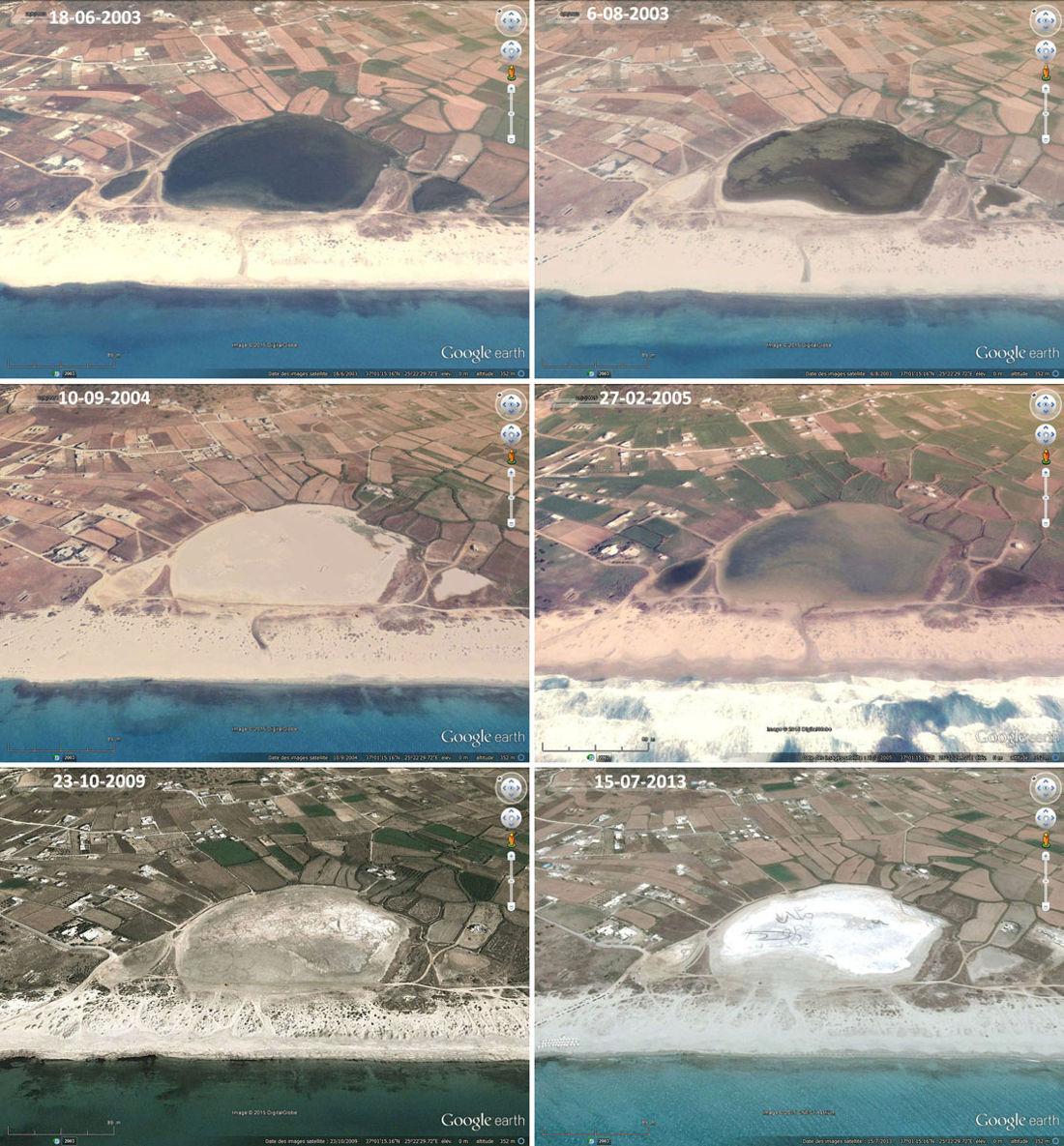 Série de 6 images prises entre 2003 et 2013 montrant l'évolution de la lagune de Mikri Vigla (Grèce) et l'origine probable du sel qui s'y dépose