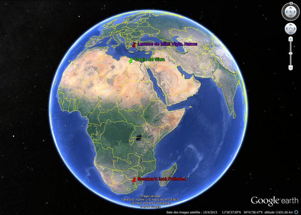 Localisation de Bourke's Luck Potholes (Afrique du Sud), de l'oasis de Siwa (Égypte) et de l'île de Naxos (Grèce)